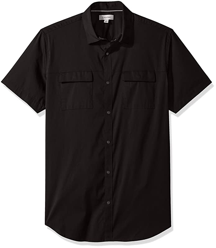 Calvin Klein Stretch Poplin Button Down Shirt Black