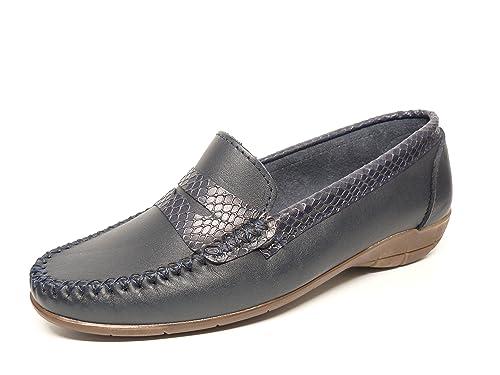 Zapato mujer casual mocasin marca DELTELL en piel color azul marino mocasin adorno banda antifaz serpiente marino 119 - 13: Amazon.es: Zapatos y ...
