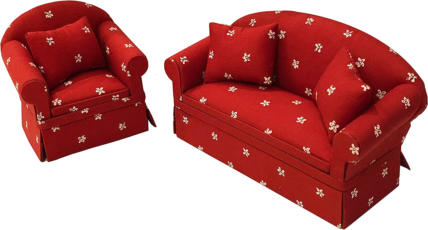 Inusitus Set of Matching Dollhouse Sofa & Armchair | Dolls House Furniture Couch & Chair - Red Checkered - 1/12 Scale (red White Stars)