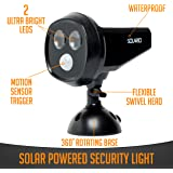 Solar Powered Security Spotlights- Motion Activated Lights- Wireless Outdoor Light- 300 Lumen Ultra Bright LEDs- 2 Lighting Modes- Best for Patio, Garden, Path, Pool, Yard, Deck (Black) (1 Pack)