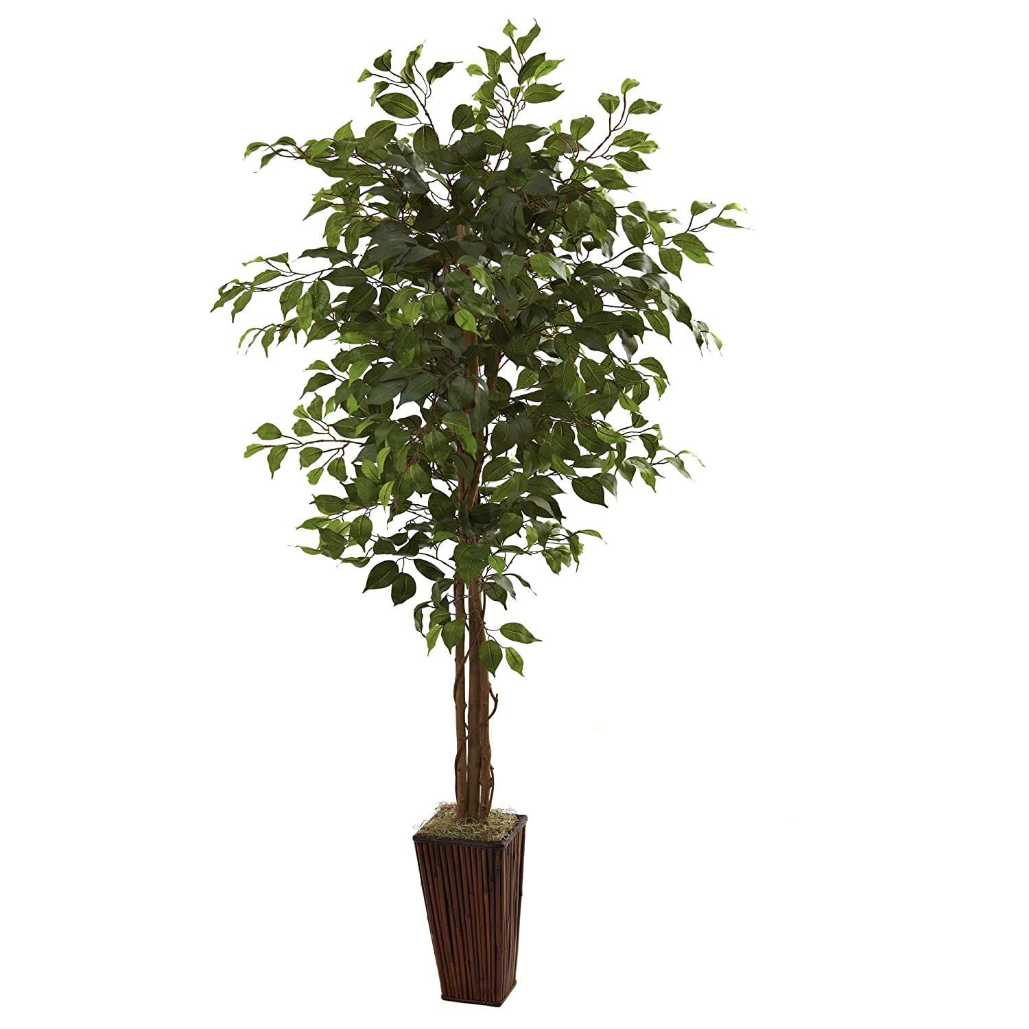 Nearly Natural 5931 6ft. Ficus Tree with Bamboo Planter