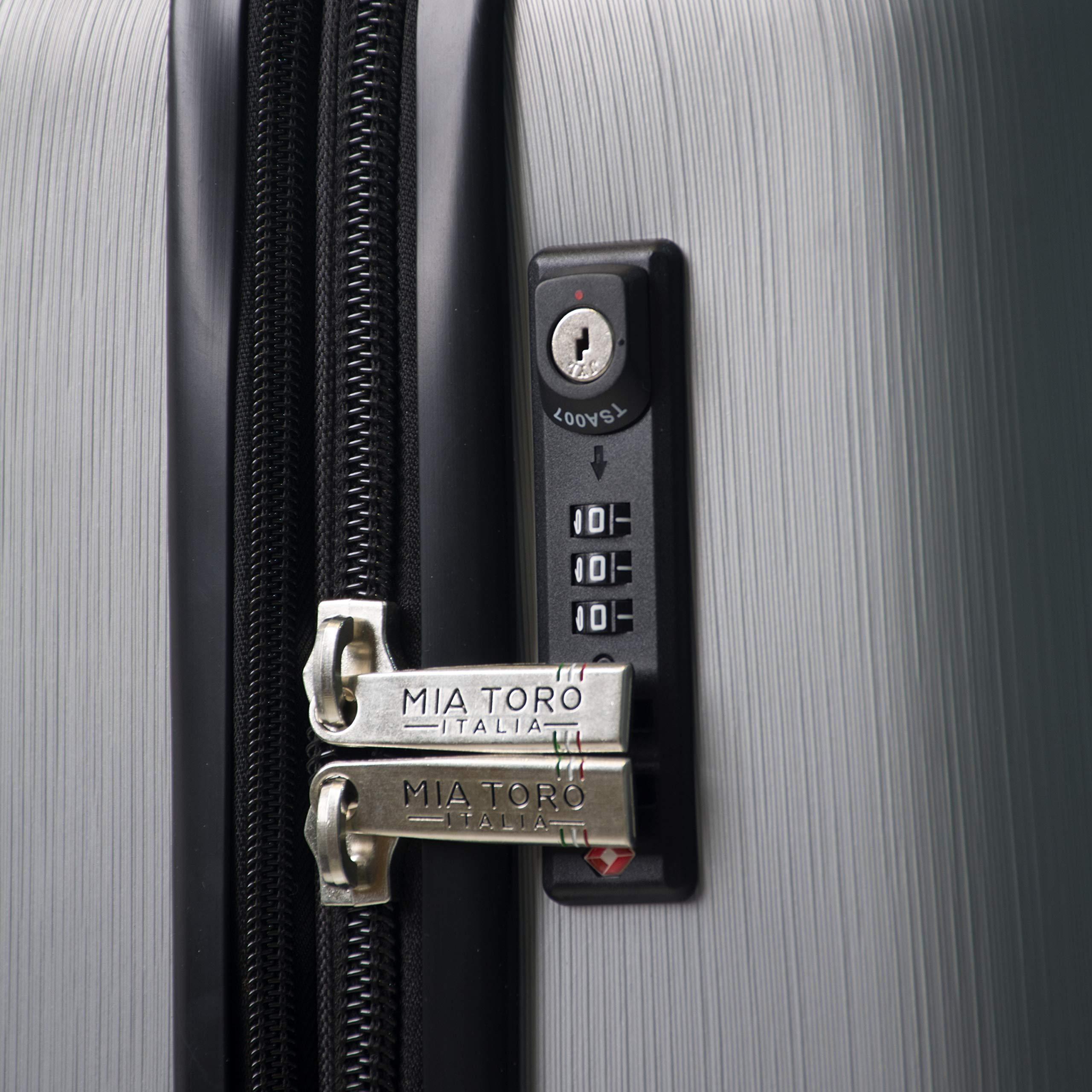 Mia Toro Italy Accera Hardside Spinner Carry-on,Aluminum by Mia Toro (Image #5)