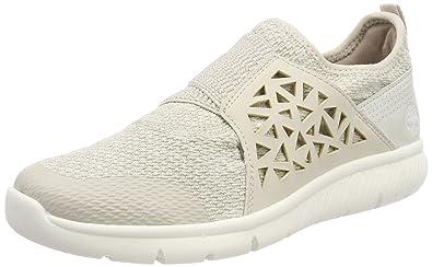 Timberland Damen Boltero Slip on Sneaker, Weiß (Rainy Day Nubuck F48), 38 EU