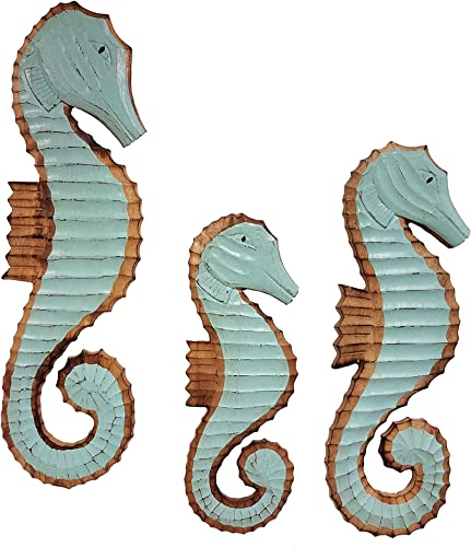 All Seas Imports Set of 3 Gorgeous HANDCARVED Wood SEA Foam Green Color Hanging Wall Decor Seahorses