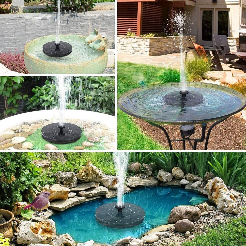 MGQ Solar Bird Bath Fountain Pump,1.4W Free Standing Solar Powered Floating Water Pump Fountain for Outdoor Water Feature,Garden Decoration,Small Pond