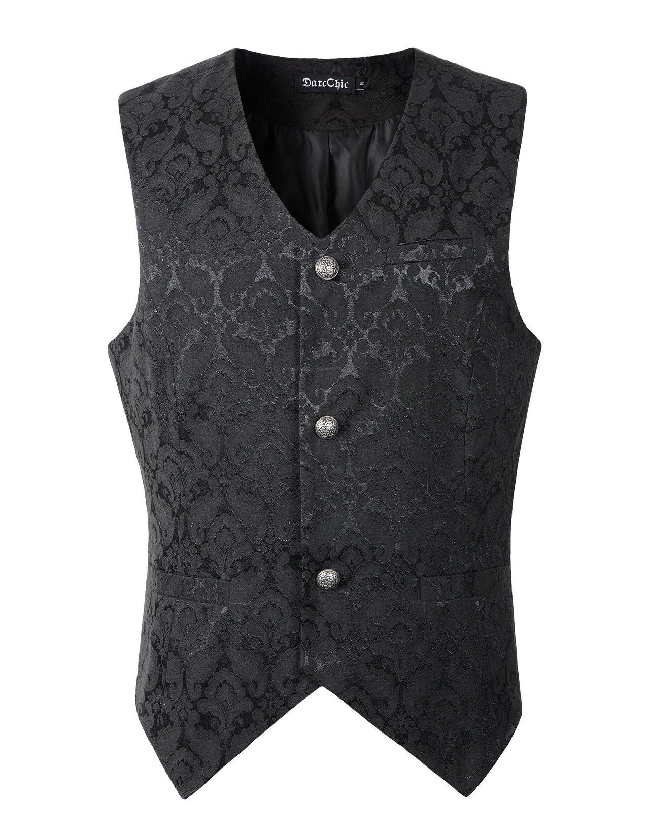 DarcChic Mens Vest Waistcoat Gothic Steampunk Victorian (XXXL, Black)