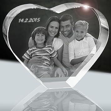 Amazon De 3d Glaskristall Mit Foto Xxl Herz 160mm 1 Bis 5