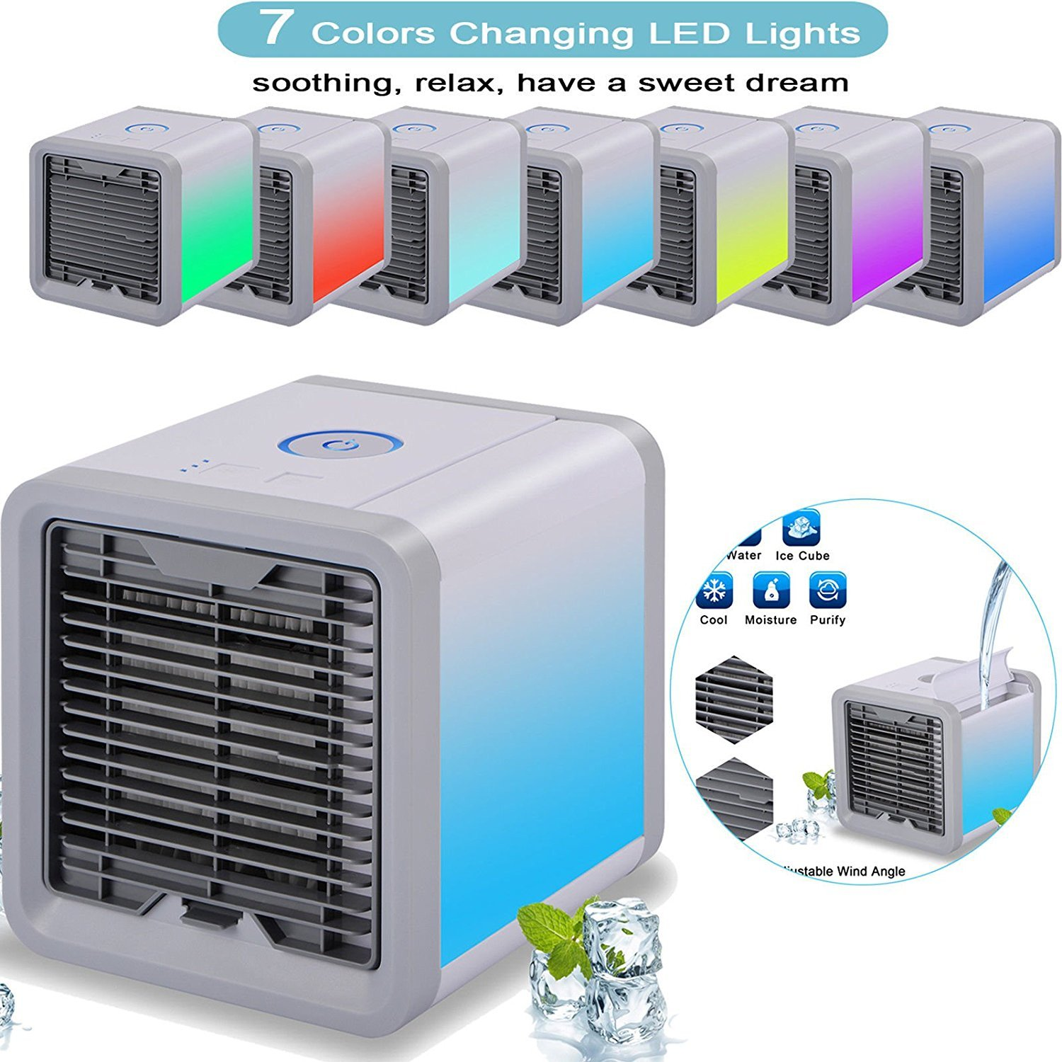 Upower Portable Air Conditioner, 3 in 1 Mini USB Personal Space Air Cooler, Humidifier and Purifier, Desktop Cooling Fan with 3 Speeds and 7 Colors LED Night Light for Office Home Outdoor Travel