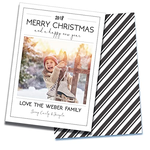 merry christmas happy new year holiday photo card personalized