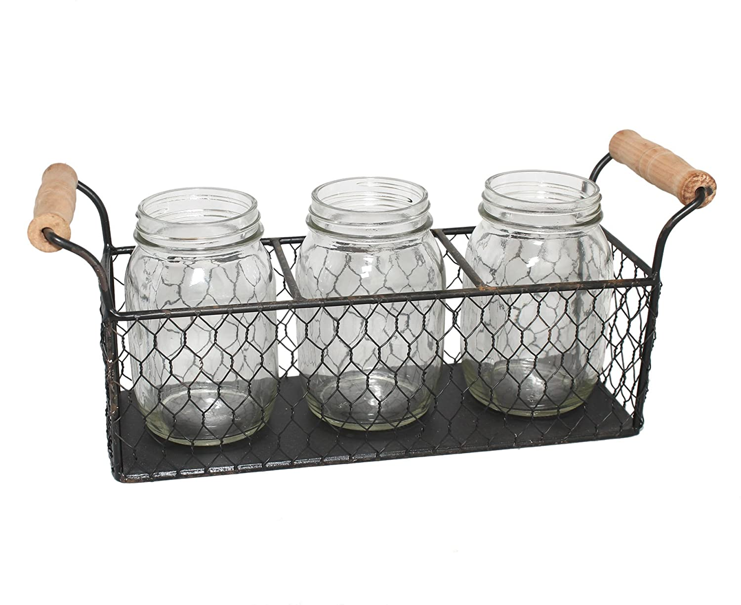 Amazon.com: Rustic Mason Jar and Chicken Wire Caddy Set: Kitchen ...