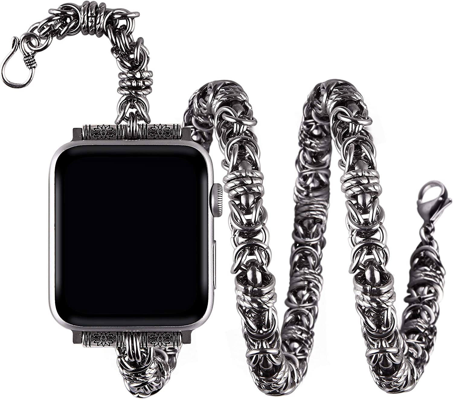 vikoros Stainless Steel Double Wrap Bands Compatible with Apple Watch Band 38mm 40mm 42mm 44mm iWatch SE Series 6 5 4 3 2 1, Cowboy Punk Chain Metal Bracelet Wristband Strap for Mens Women