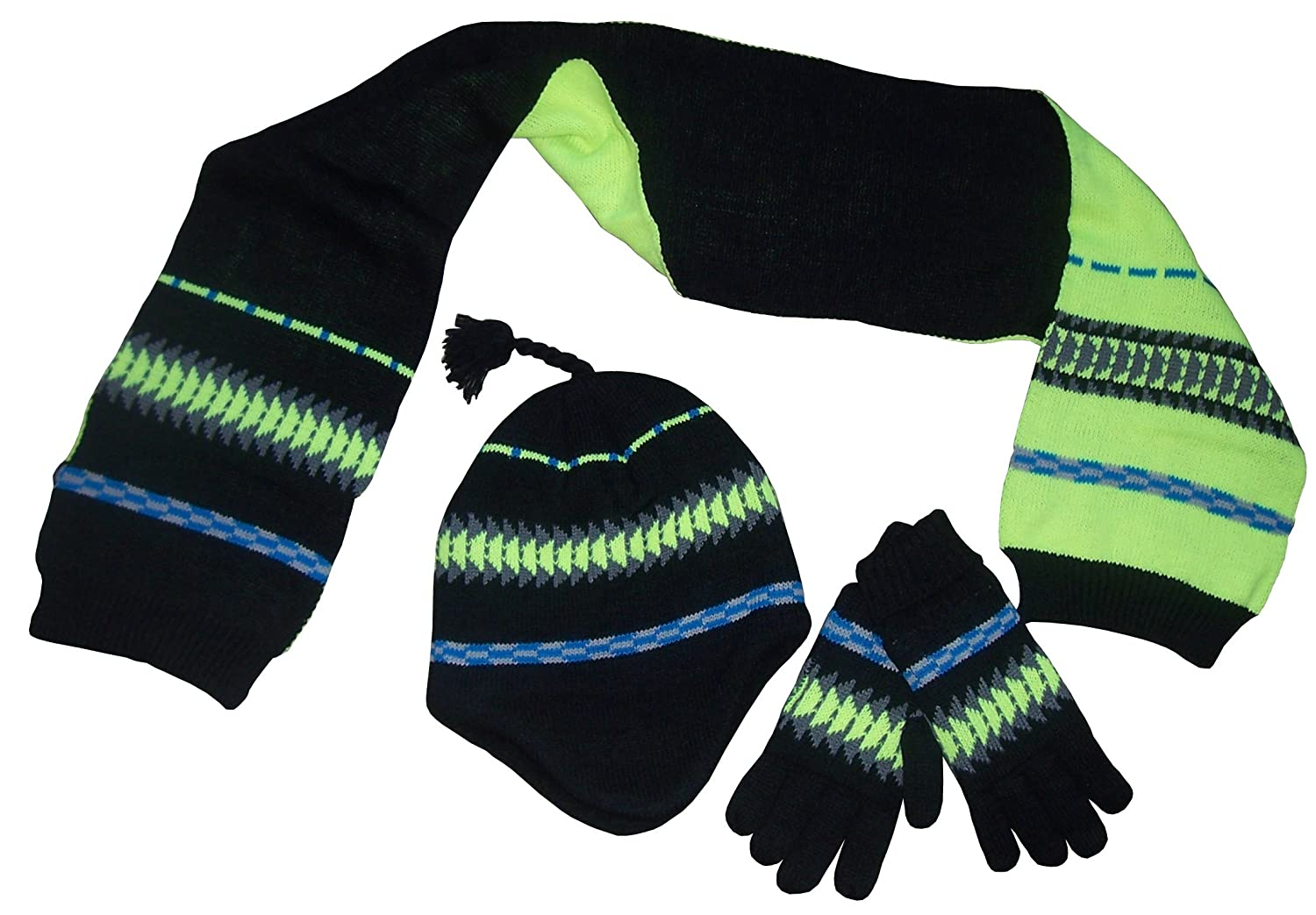 N'Ice Caps Big Boys Racer Striped Knitted Hat/Scarf/Glove Fleece Lined Set 22100-BY