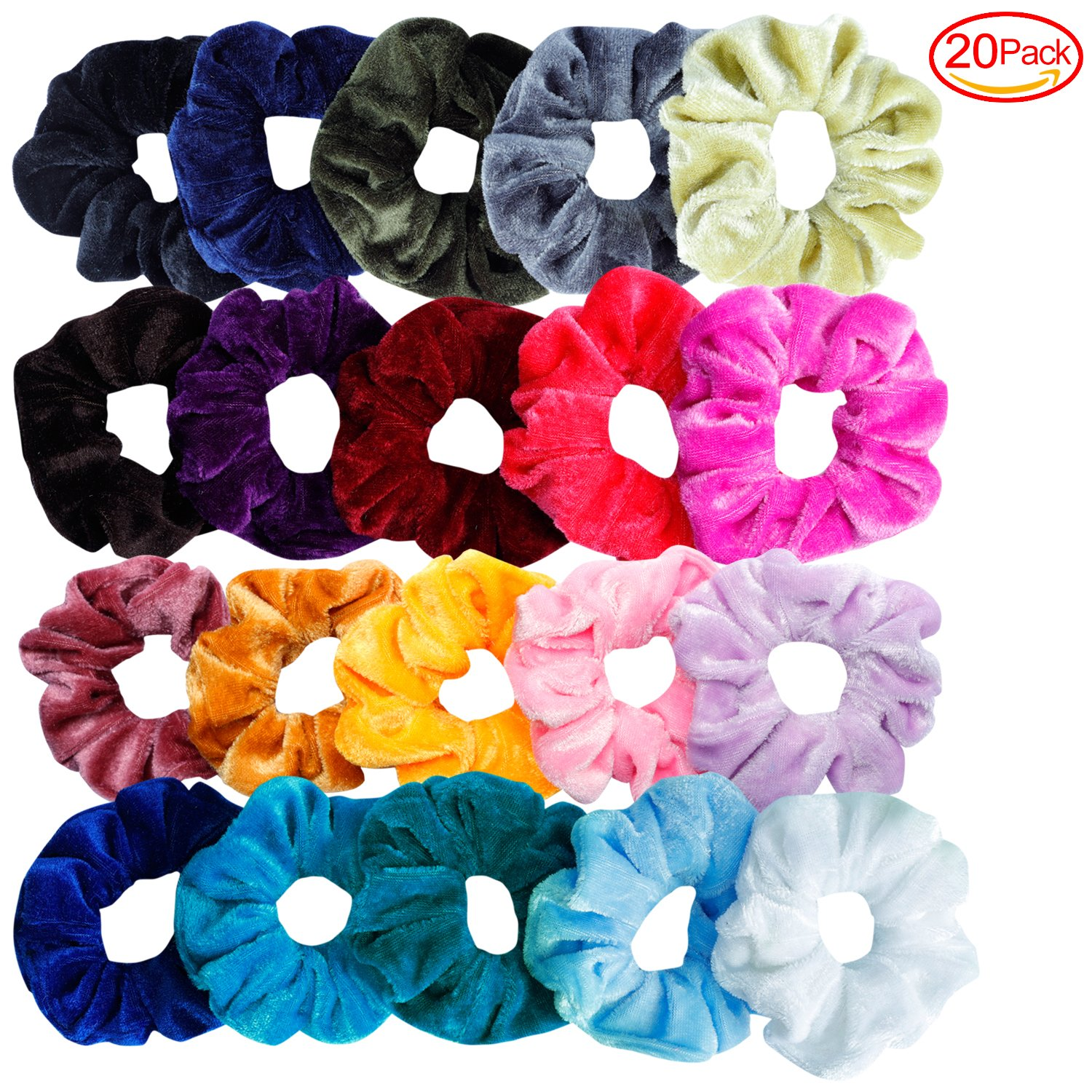 Mandydov 20 Pcs Hair Scrunchies Velvet Elastic Hair Bands Scrunchy Hair Ties Ropes Scrunchie for Women or Girls Hair Accessories - 20 Assorted Colors Scrunchies. by Mandydov (Image #2)