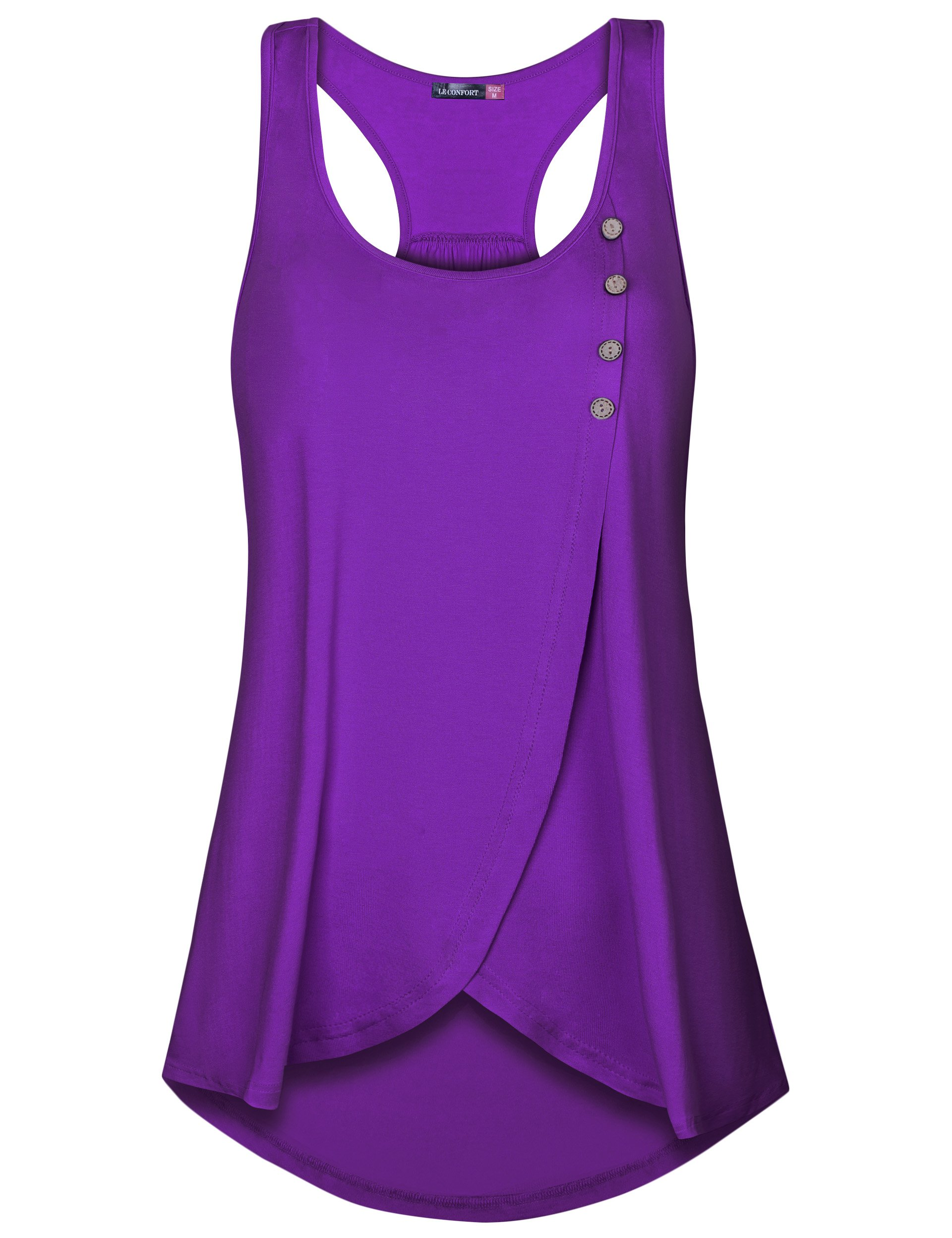 Le Vonfort Running Tank Tops for Women Sleeveless Shirts Button Front A-Line Curve Hem Tunic Tops (Purple, XX-Large)