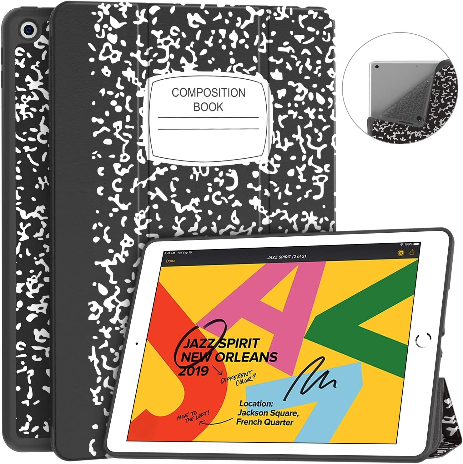 Soke iPad 8th Generation Case 2020/7th Generation Case 2019, Fabric-Like Texture Smart Case Shockproof Soft TPU Back Cover with Auto Sleep/Wake for New Apple iPad 10.2 Inch Case, Book Black