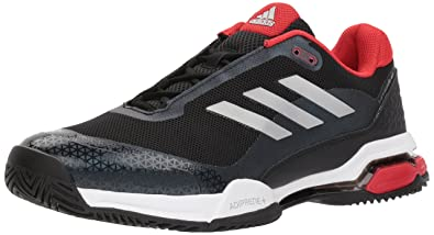 adidas Men's Barricade Club Tennis Shoe, Black/Matte Silver/White, ...