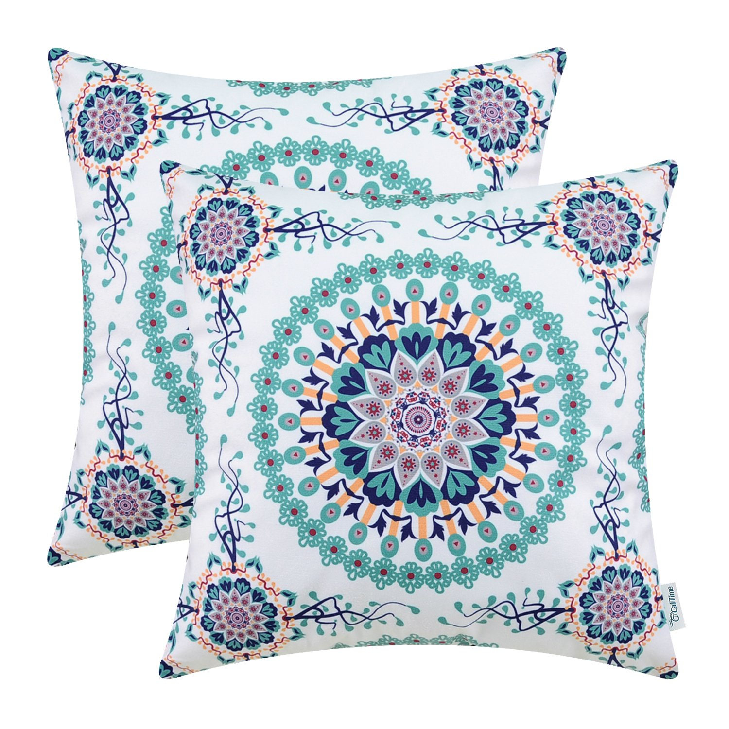 CaliTime Pack of 2 Cozy Fleece Throw Pillow Cases Covers for Couch Bed Sofa Fantasy Compass Floral Print 18 X 18 Inches Main Teal