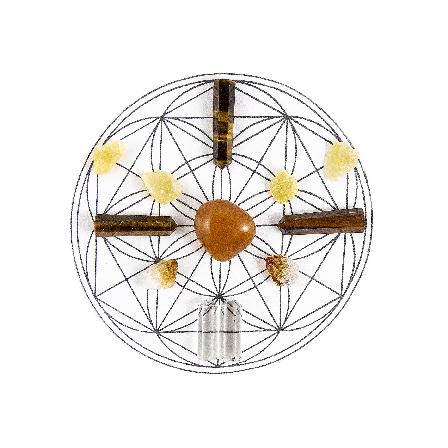 Beverly Oaks ENERGY INFUSED Healing Crystals Grid - CREATIVITY AND MOTIVATION Gemstone Gridding Set - Featuring Carnelian, Tiger Eye, Citrine, Clear Quartz, and Orange Calcite