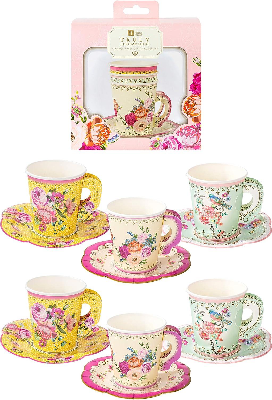 Bridal Shower Tea Party Set Vintage Wedding Tea Cup Collection Set of 4 Vintage Mismatched Teacups and Saucers