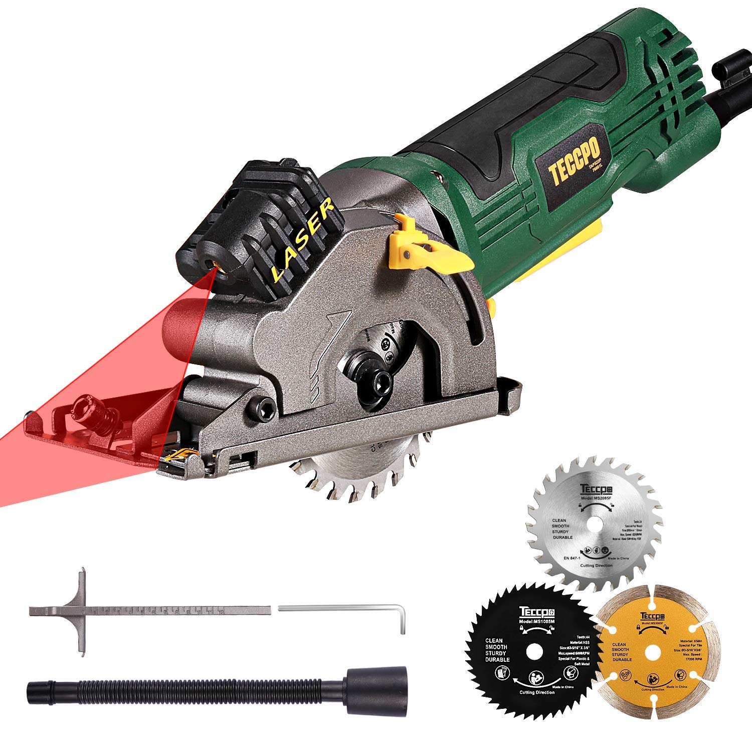 TECCPO Circular Saw, 3500RPM Compact Saw with Laser, 3 Saw Blades (22T/44T/Diamond), Scale Ruler and 4Amp Pure Copper Motor, Suitable for Wood, Tile, Aluminum and Plastic Cuts - TAPS22P