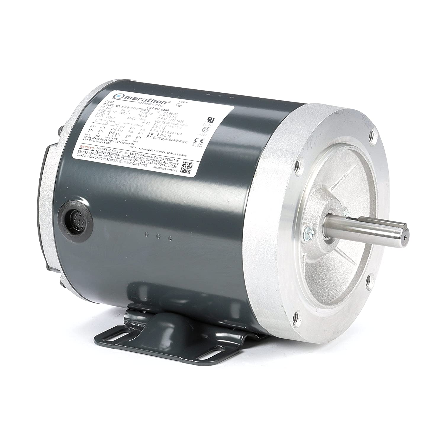 Marathon G580 56C Frame 56T17T5305 TENV General Purpose Motor, 3 Phase, C-Face with Base, Ball Bearing, 1/3 hp, 1800 RPM, 1 Speed, 208-230/460 VAC