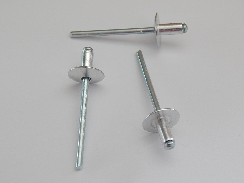 200 St/ück Blindnieten Popnieten Alu//Stahl 4,0x8 mm Nieten Gro/ßkopf K12