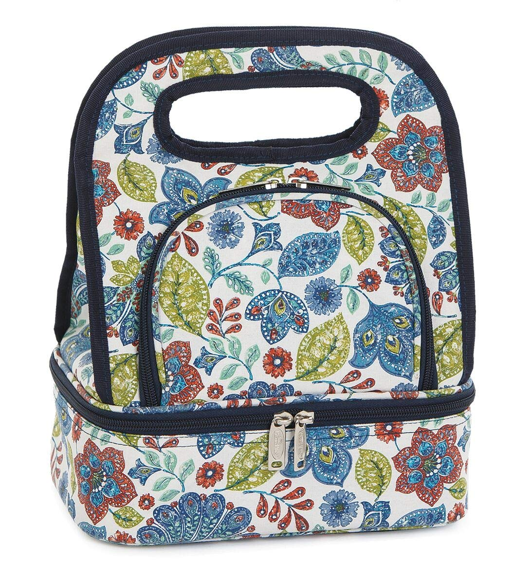 Premium Quality Savoy Lunch Bag Tote - Fully Insulated Includes Bonus Storage Food Container by Picnic Plus, 10''w x 7''d x 12''h (Blue Peacock) by Picnic Plus