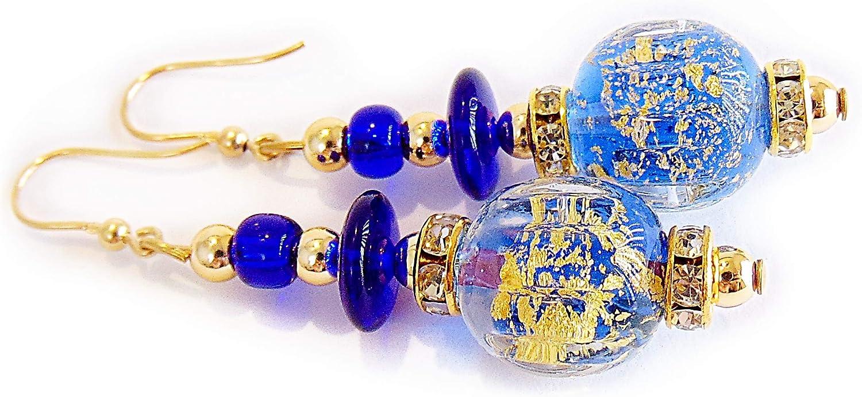 Venezia Classica - Pendientes de mujer con perlas de cristal de Murano original, colección Diana, con hoja de oro de 24 quilates, fabricado en Italia certificado