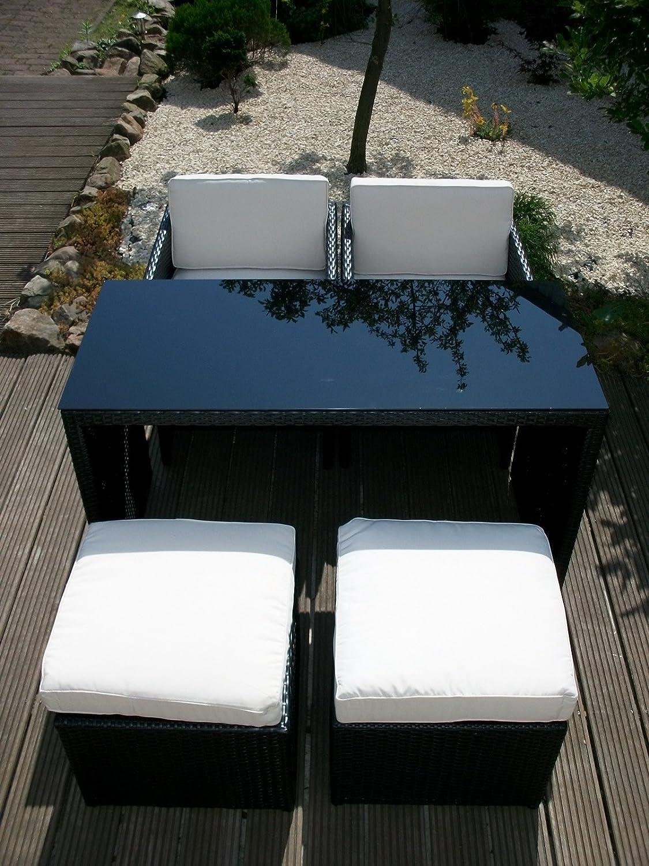 Amazon.de: Rattan Sitzgruppe Gartenmöbel Tisch Sessel Hocker NT