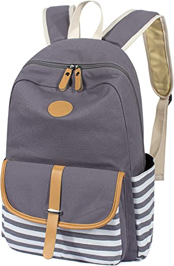 School Backpack 1 Large Compartment with 2 Way Zipper 16 Inch Backpack for Girls Boys Grey