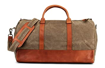 0abfe72042 Waxed Canvas   Full Grain Leather Weekender Duffel Bag by Jackson Wayne (Saddle  Tan)