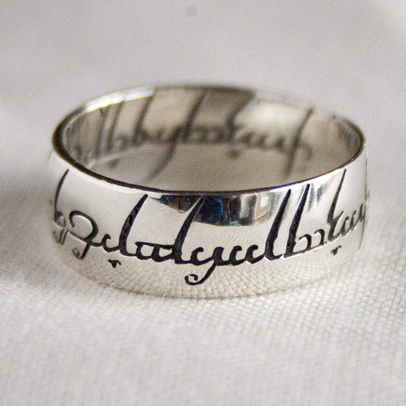 The One Ring Sterling Silver To Rule Them All Elvish Cosplay Ring Lord of the Rings Wiccan Jewelry