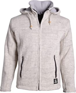 SHAKALOHA Unifarbene Strickjacke Wolljacke mit Kapuze für