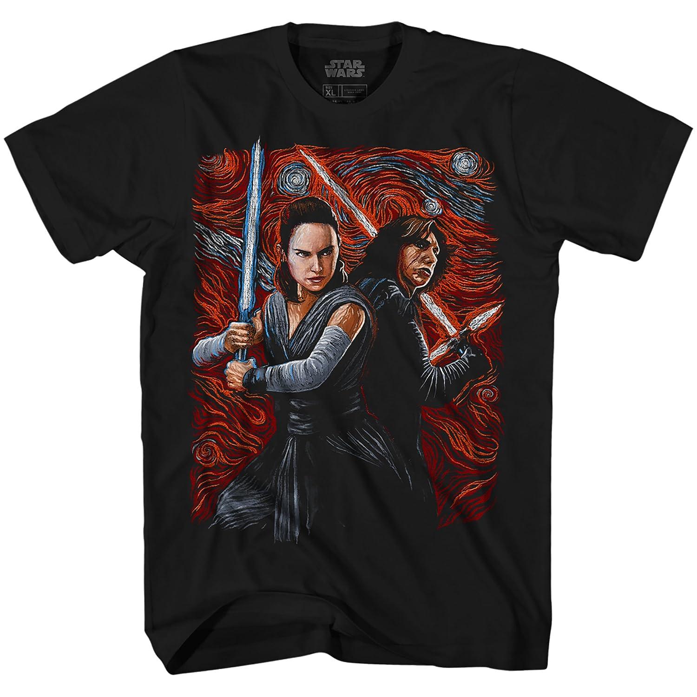 d0aa0b7e Amazon.com: Starry Night Rey & Kylo Ren Van Gogh Adult Men's Graphic Tee T- Shirt Black: Clothing