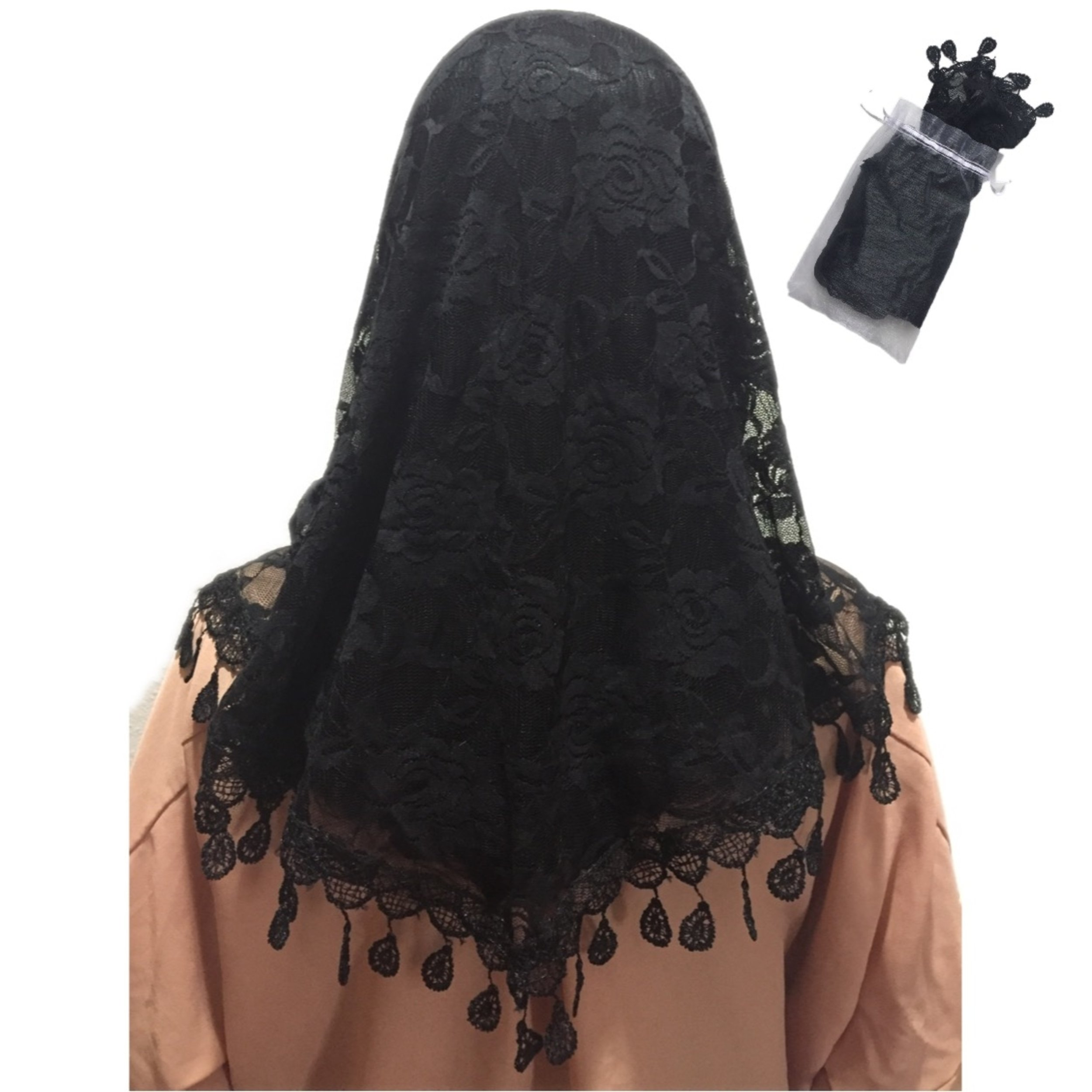 Mass Veil Catholic Church Mantilla Black Chapel Lace Shawl or Scarf Latin Mass Head Cover with a Handy Storage Pouch (Black) Beatus Veils