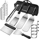 Loomla Griddle Accessories for Blackstone,13 Pc Flat Top Grill Accessories with Scraper, Spatulas, Tongs, 2 Bottles, 4 Egg Ri