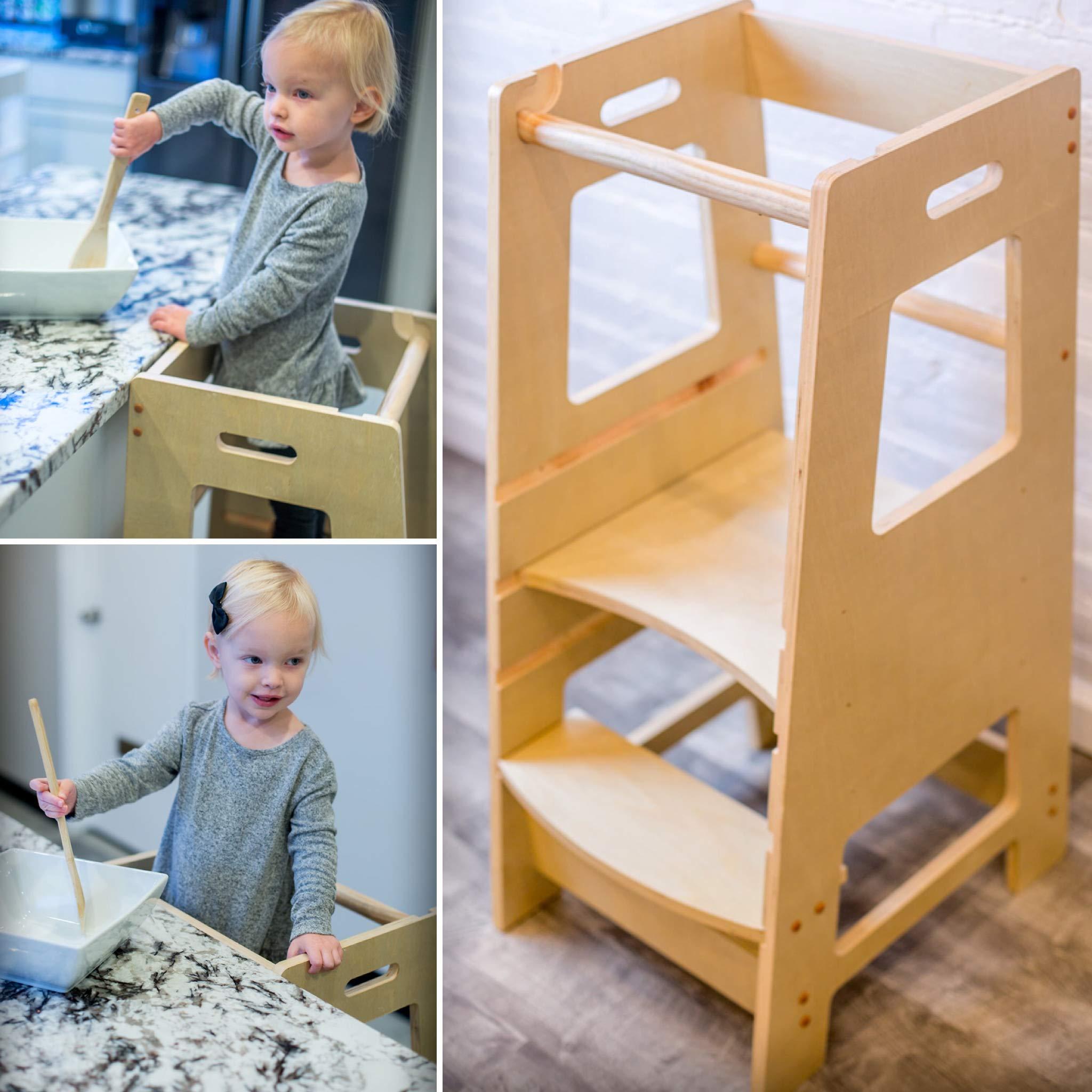 KidzWerks Child Standing Tower - Child Kitchen Step Stool with Adjustable Standing Platform - Wooden Montessori Standing Tower - Kid's Step Stool by KidzWerks