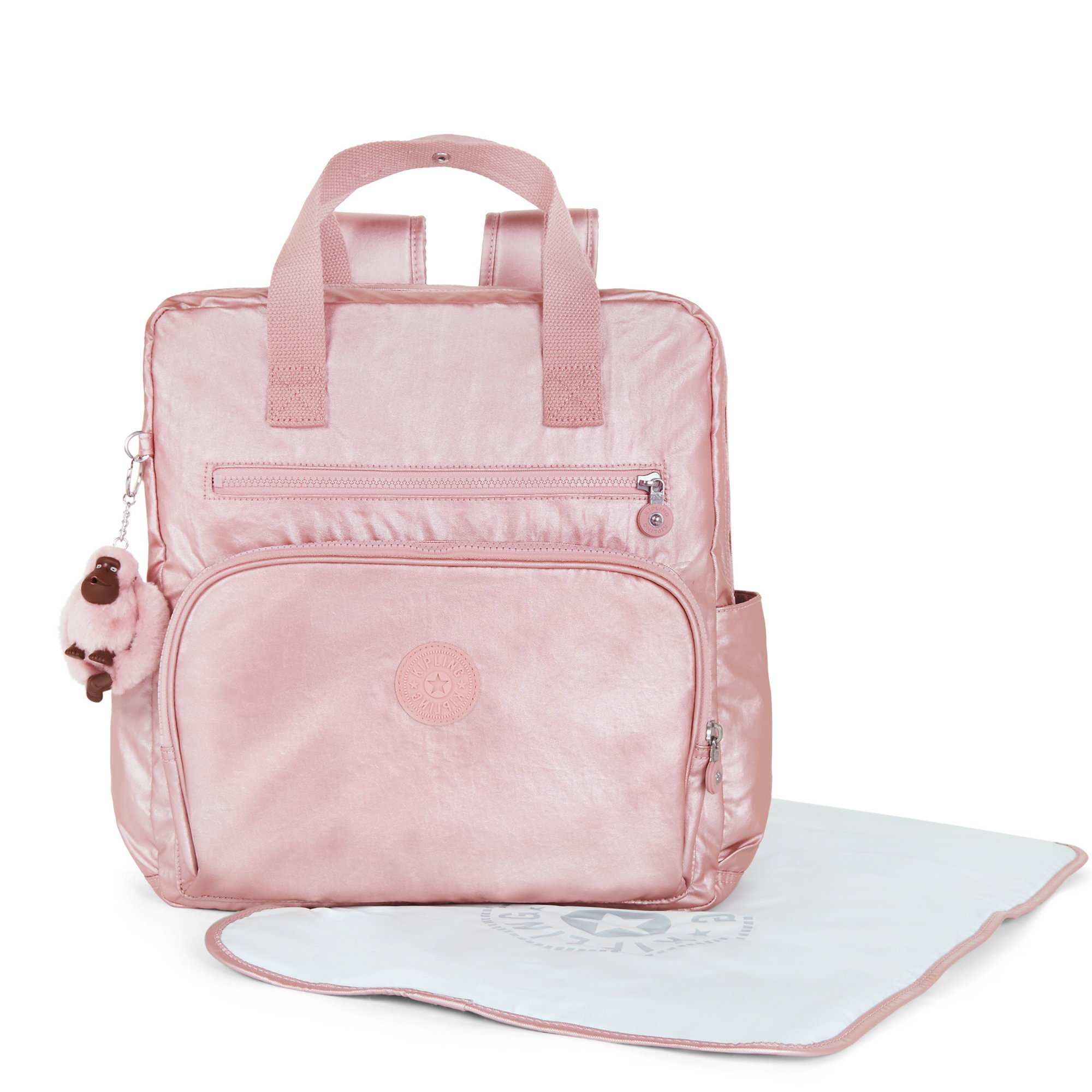 Kipling Women's Audrie Metallic Diaper Bag One Size Icy Rose Metallic