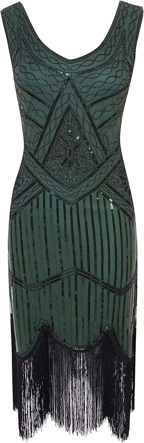 FUNDAISY 1920s Gatsby Sequin Fringed Paisley Flapper Dress with 20s Accessories Set Green