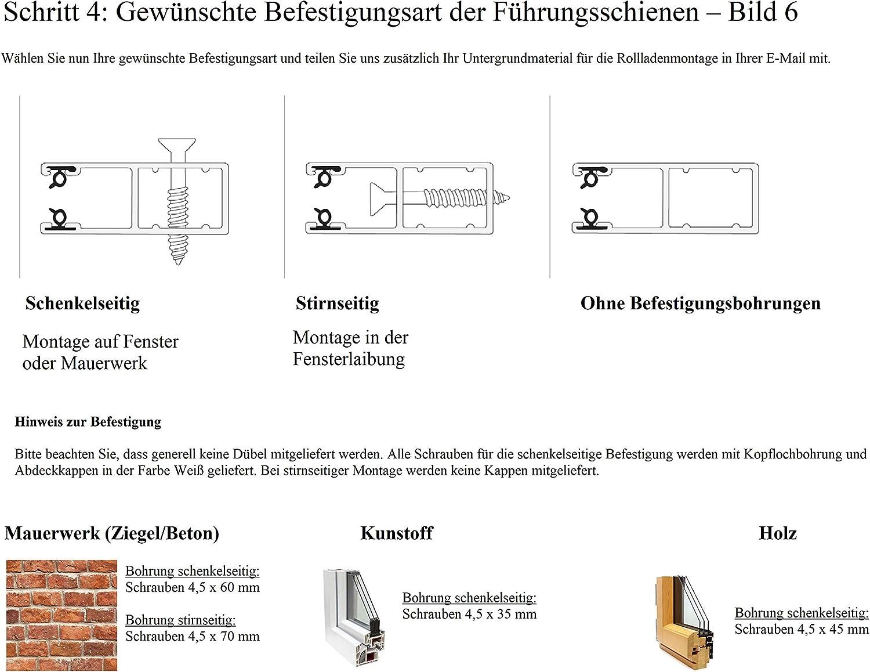 Aluminium-Profil 39 mm jarolift Basic Vorbaurollladen Rolladen auf Ma/ß B x H halbrunder Rollladenkasten 600-800 mm x 600-800 mm Gurtzug