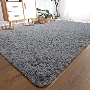 YOH Modern Large Soft Fluffy Shaggy Area Rug for Bedroom Living Room Indoor Floor Home Decor Accent Furry Fur Rugs, Rectangle Non-Slip Plush Fuzzy Carpet for Dorm Nursery Kids Room, 6