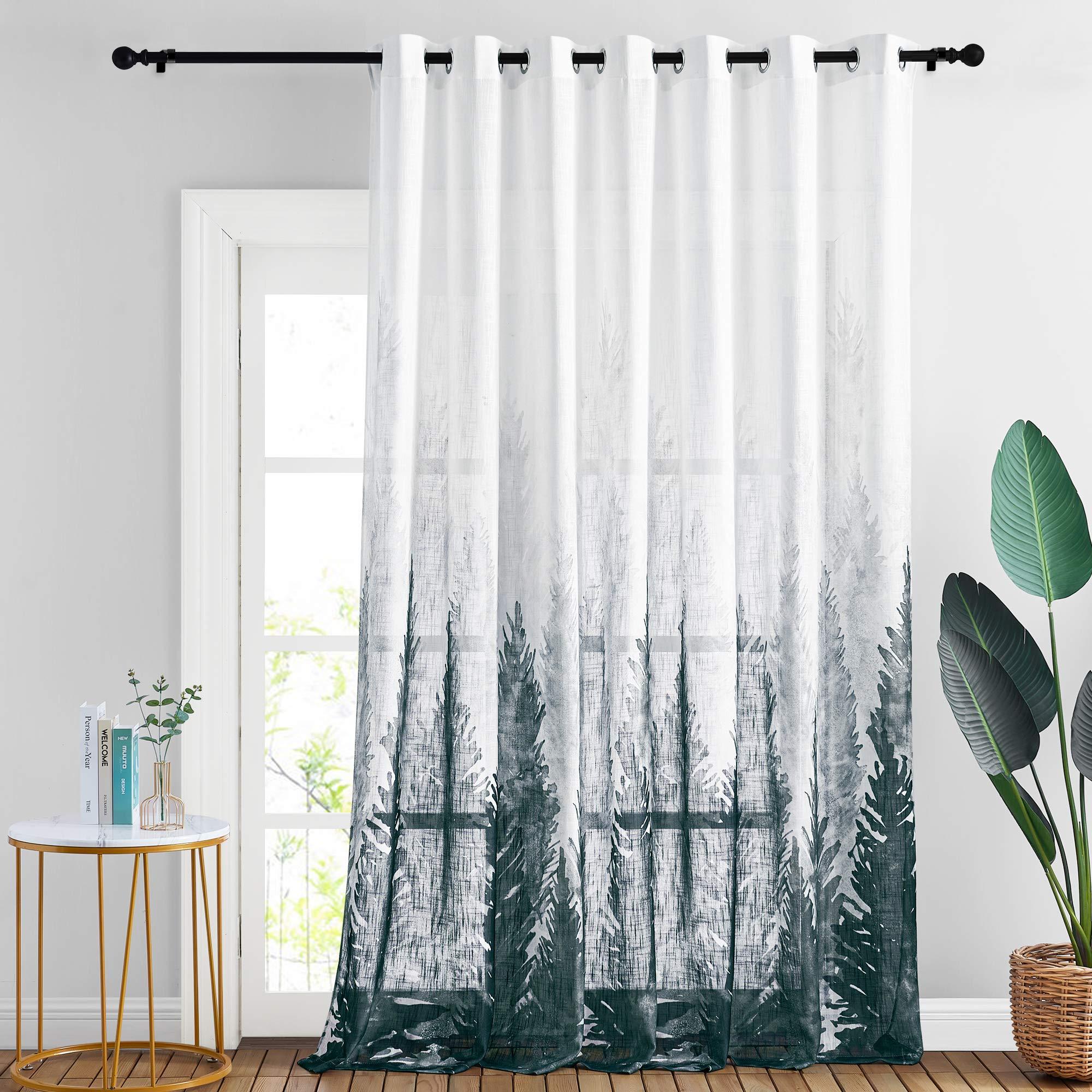 StangH Ombre Tree Printed Semi Sheer Patio Door Curtains Durable Linen Sheer