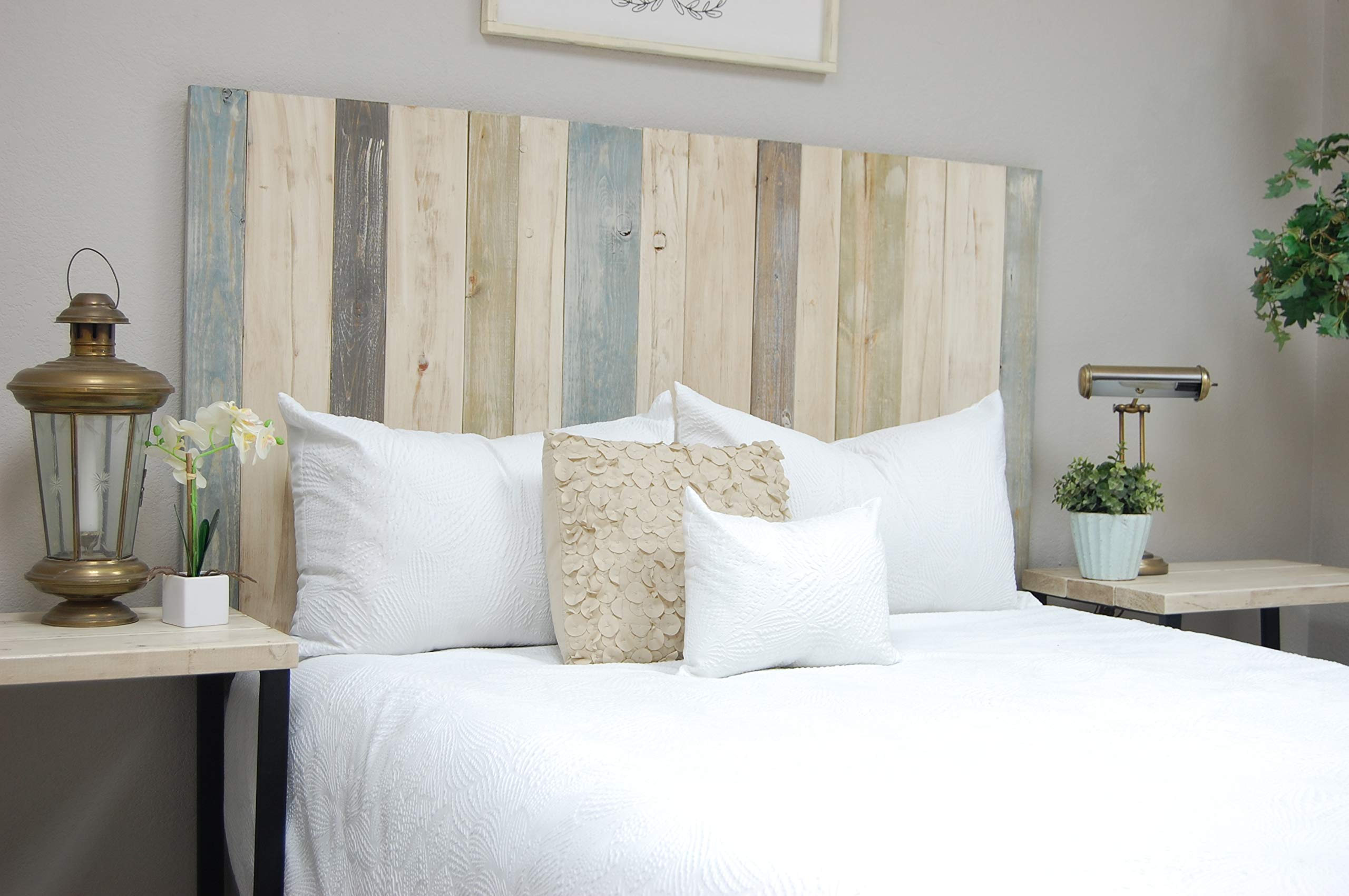 Farmhouse Mix Headboard Queen Size, Hanger Style, Handcrafted. Mounts on Wall. Easy Installation
