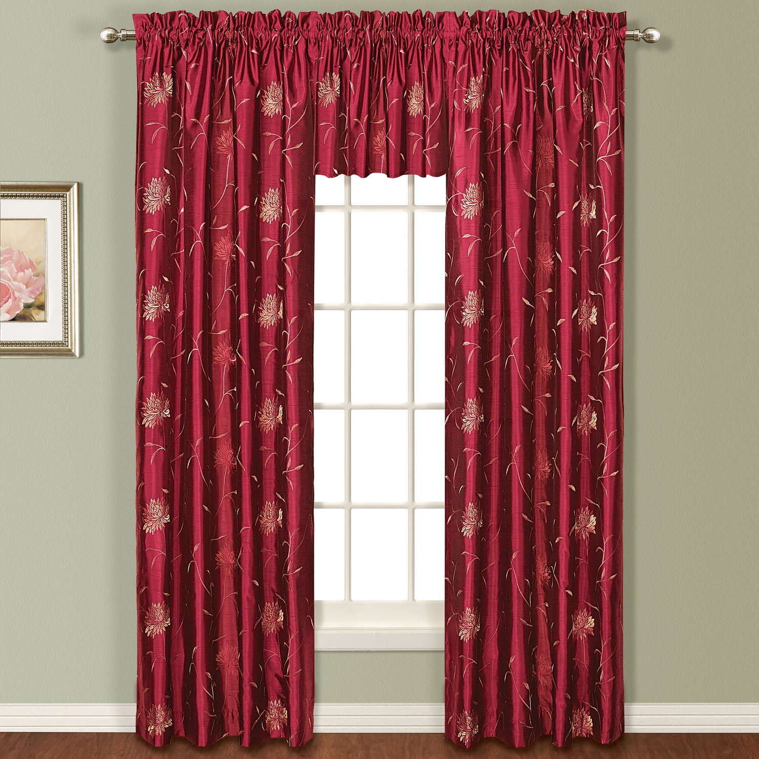 United Curtain Avalon Window Curtain Panel, 54 by 63-Inch, Burgundy