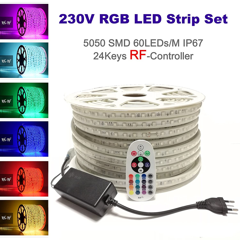 09 Meter 230V LED RGB Mehrfarbig Strip Streifen Lichtband Flex Band mit 5050 SMD 60LEDs pro Meter IP67 - für Innen und Außen Wasserfest mit 24 Keys RadioFrequency Fernbedienung