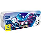 Fine, Sterilized Toilet Paper, Duetto, 340 Sheets, 2 Ply, 12 rolls