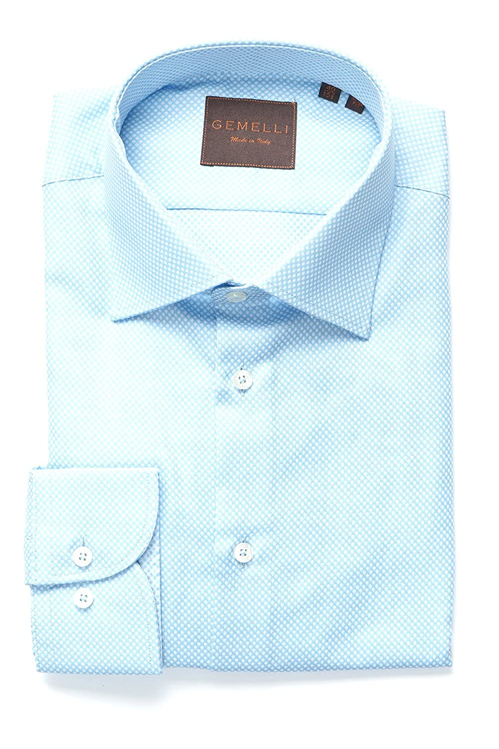 Gemelli Mens Dress Shirt Slim Fit Made In Italy 100 Cotton Long