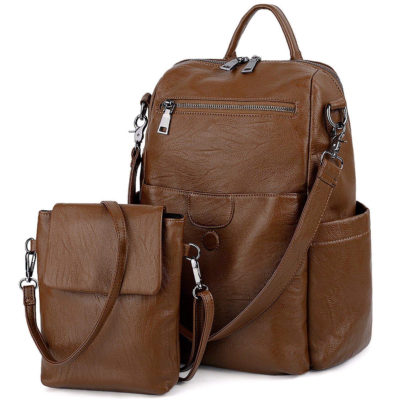 UTO Women Backpack Purse PU Washed Leather Ladies Rucksack Detachable Crossbody Shoulder Bag B Brown