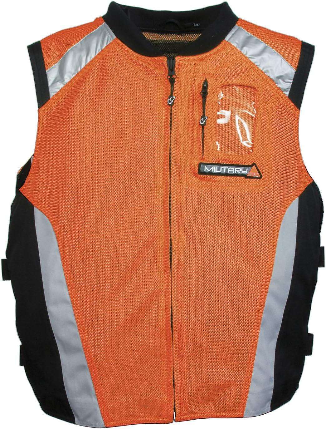 Joe Rocket Military Spec Motorcycle Vest Orange//Black//Silver LG//XL