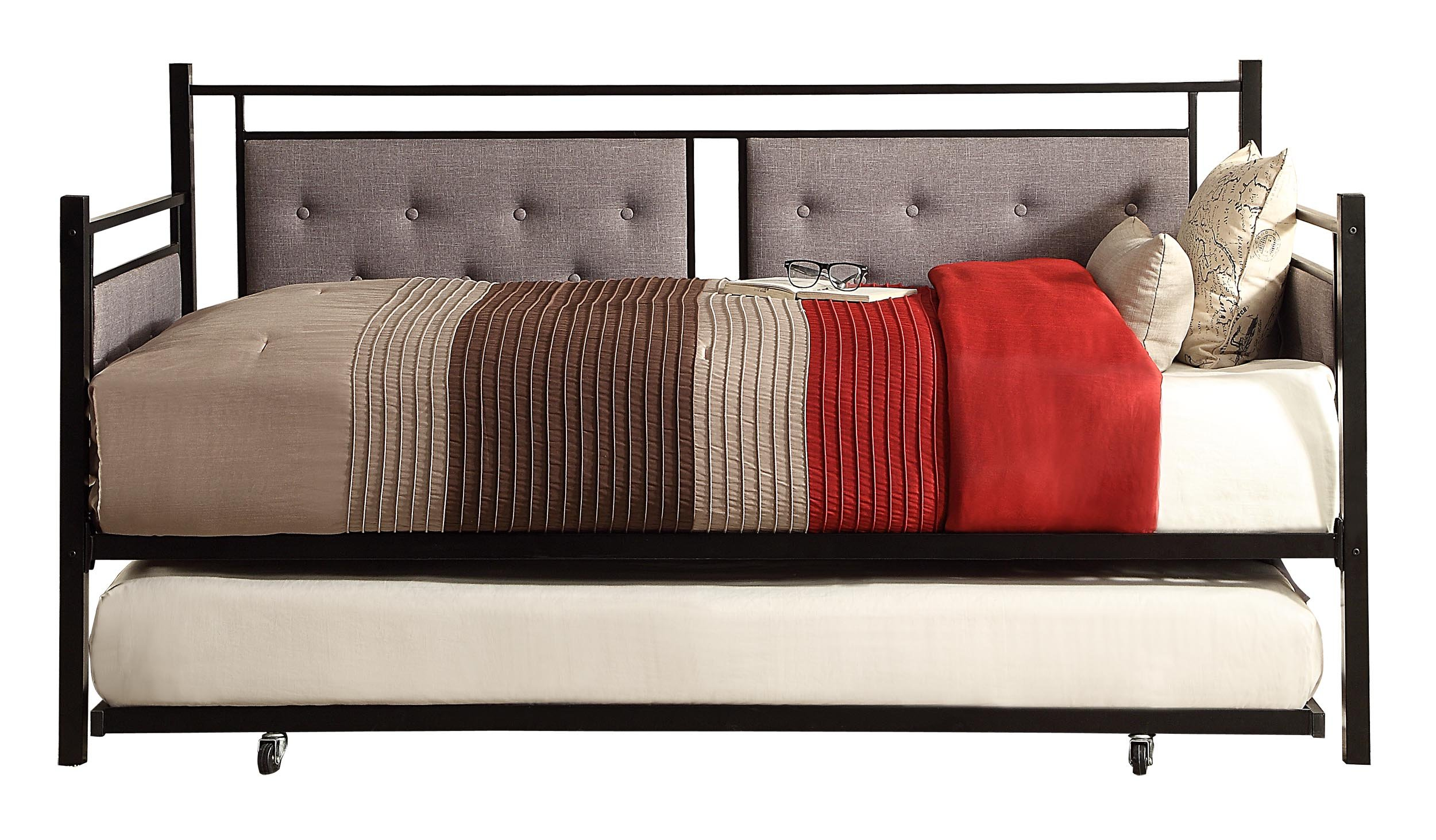 Homelegance Octavia Metal Daybed with Trundle, Twin, Black